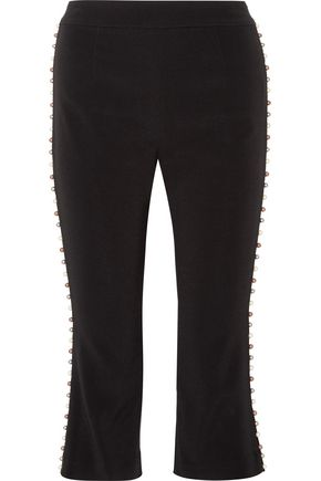 Cropped faux pearl-embellished stretch-crepe straight-leg pants