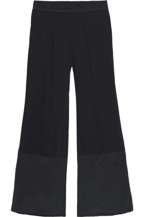 ROBERTO CAVALLI Silk-paneled georgette wide-leg pants