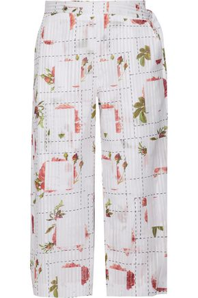 CHALAYAN Wrap-effect printed cotton-poplin wide-leg pants