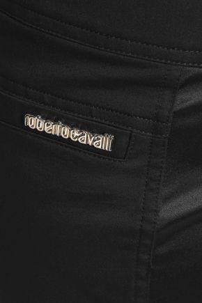 ROBERTO CAVALLI Satin-trimmed cotton-blend slim-leg pants