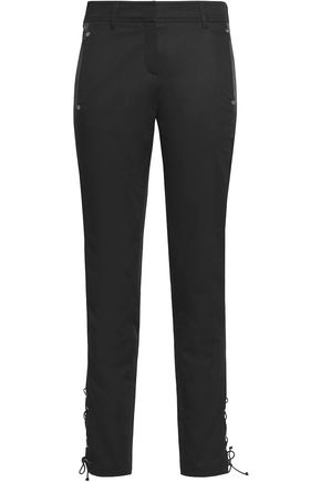 ROBERTO CAVALLI Satin-trimmed cotton-blend slim-leg pants