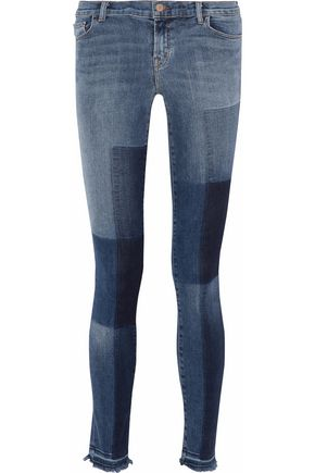 J BRAND Reunion patchwork mid-rise skinny jeans