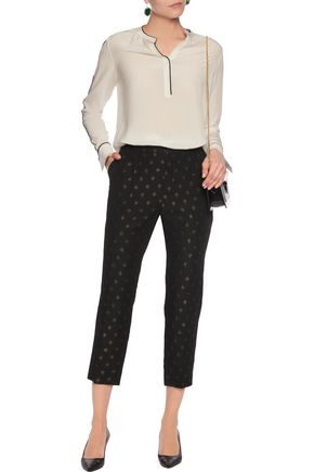 CHLOÉ Cropped metallic jacquard straight-leg pants