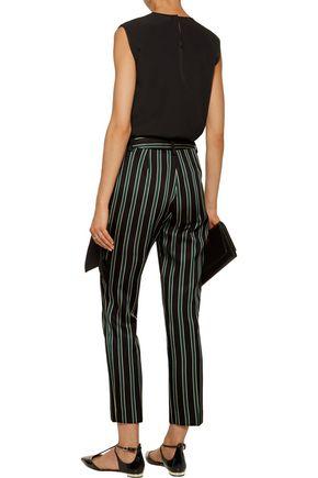 TOMAS MAIER Striped satin-twill straight-leg pants