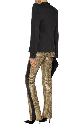 ROBERTO CAVALLI Satin-trimmed metallic snake-print cotton-blend straight-leg pants