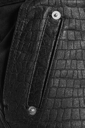 ROBERTO CAVALLI Croc-effect cotton-blend skinny-leg pants