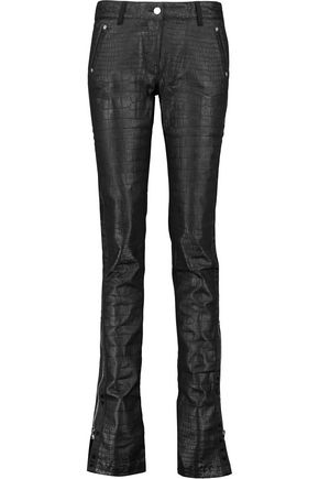 ROBERTO CAVALLI Croc-effect cotton-blend skinny-leg pants