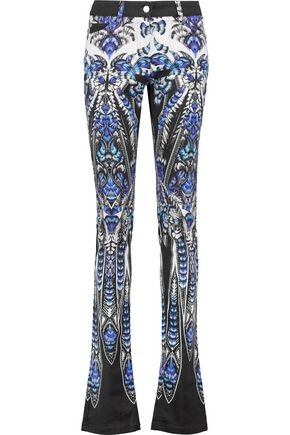 ROBERTO CAVALLI Printed cotton-blend slim-leg pants