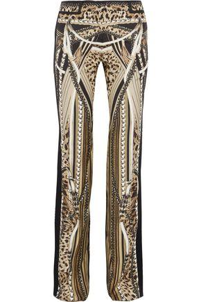 ROBERTO CAVALLI Satin-trimmed printed silk-twill bootcut pants