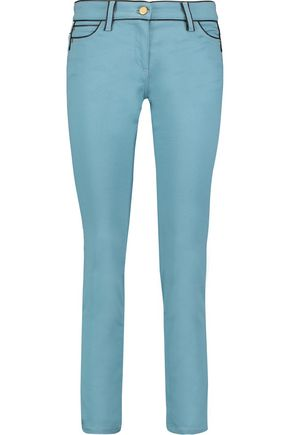 ROBERTO CAVALLI Faux leather-trimmed cotton-blend twill skinny pants