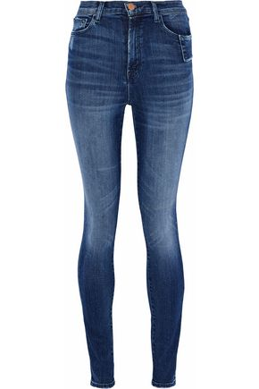 J BRAND Distressed high-rise skinny jeans