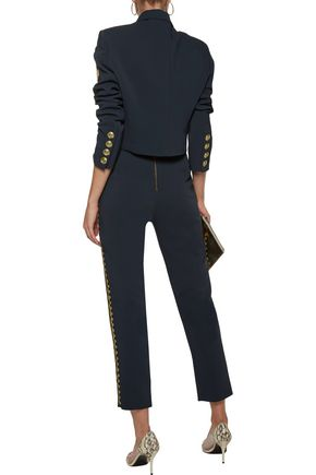 PIERRE BALMAIN Cropped embroidered crepe straight-leg pants