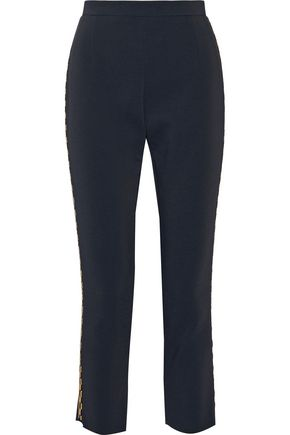 PIERRE BALMAIN Metallic-trimmed cady slim-leg pants