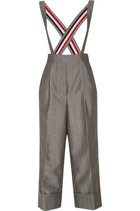 THOM BROWNE Cropped wool and mohair-blend wide-leg pants