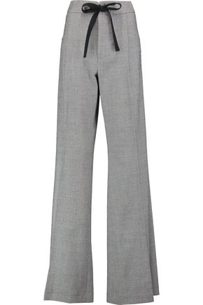 ROLAND MOURET Morely checked wool-blend wide-leg pants