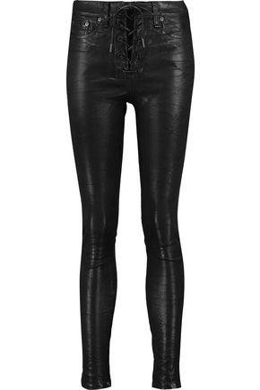 RAG & BONE/JEAN Lace-up leather skinny pants