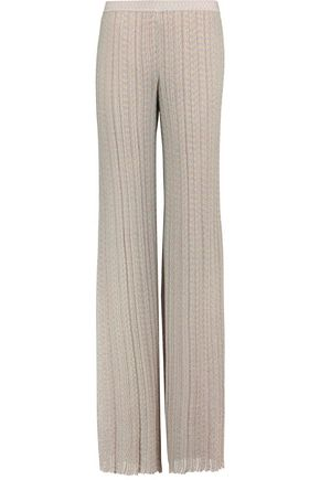 MISSONI Metallic ribbed crochet-knit wide-leg pants