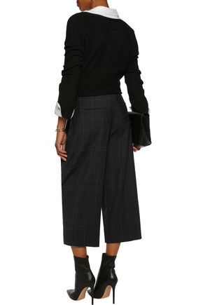 BRUNELLO CUCINELLI Embellished checked twill wide-leg pants