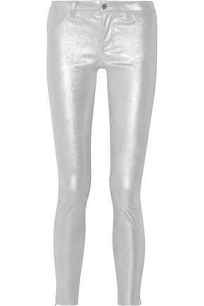 J BRAND Glittered stretch-suede skinny pants