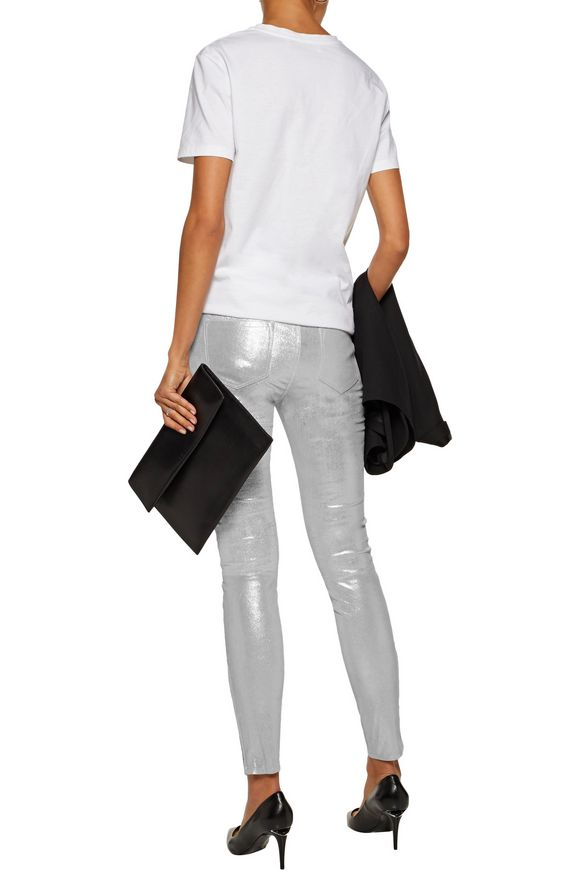 Glittered stretch-suede skinny pants | J BRAND | Sale up to 70% off | THE  OUTNET