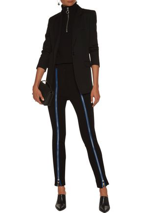 EMILIO PUCCI Zip and silk-trimmed stretch-ponte skinny pants