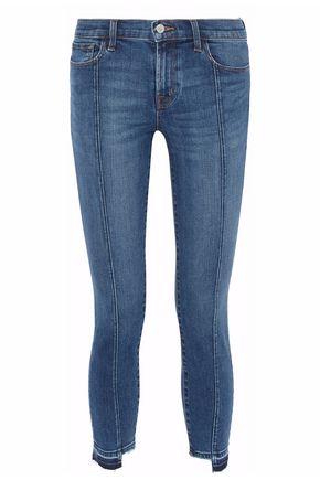 J BRAND Cropped frayed skinny jeans