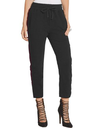 HAIDER ACKERMANN Velvet-trimmed cotton and wool-blend track pants