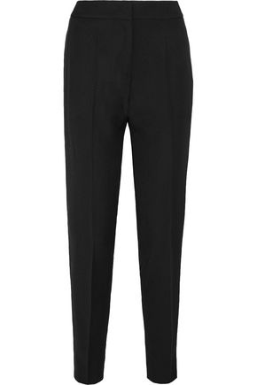 PALLAS Satin-trimmed wool-crepe slim-leg pants