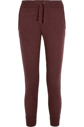 BRUNELLO CUCINELLI Embellished cashmere and silk-blend track pants