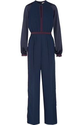 WOMAN OTTO SATIN CREPE-PANELED CADY JUMPSUIT MIDNIGHT BLUE