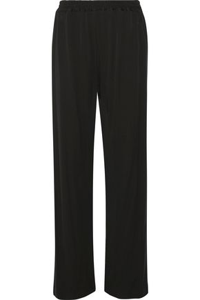 WOMAN JERSEY STRAIGHT-LEG PANTS BLACK