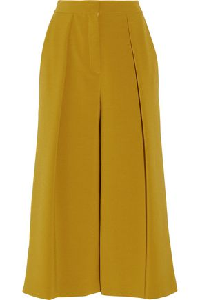 ROKSANDA Deven satin-trimmed pleated crepe culottes