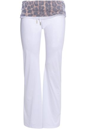 ROBERTO CAVALLI Mesh-paneled stretch-modal track pants