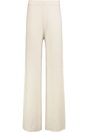 IRIS AND INK Winnie ribbed cashmere wide-leg pants