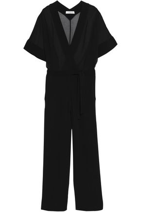 SANDRO Wrap-effect paneled crepe and chiffon jumpsuit