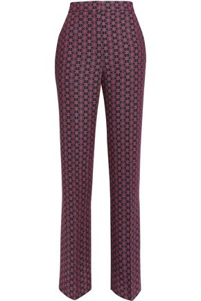 SANDRO Printed twill wide-leg pants