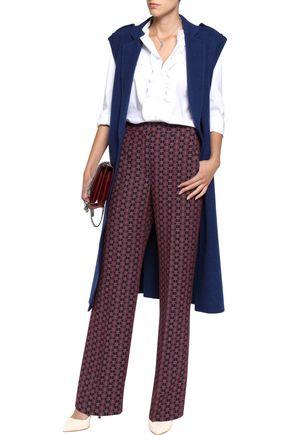 SANDRO Printed twill wide-leg pants