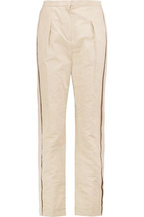 LANVIN Grosgrain-trimmed cotton-blend slim-leg pants