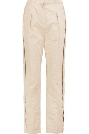 LANVIN Grosgrain-trimmed cotton-blend slim-leg pants