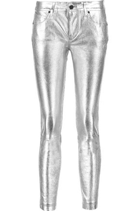 RTA Prince metallic textured-leather skinny pants