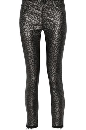 RTA Prince mid-rise metallic leopard-print leather-coated denim skinny jeans