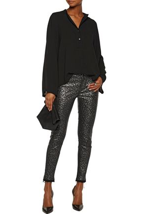 RTA Prince mid-rise metallic leopard-print leather-coated denim skinny jeans