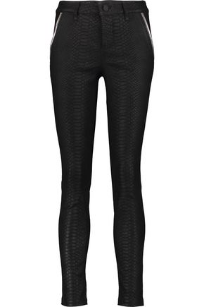 RTA Snake-effect textured leather skinny pants