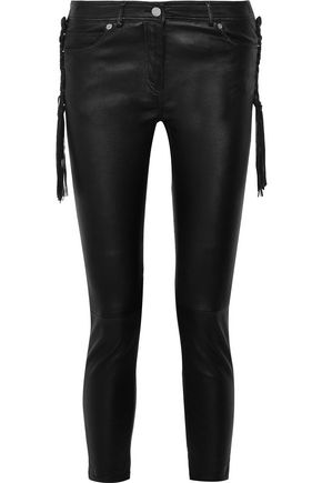 ROBERTO CAVALLI Fringed leather skinny pants