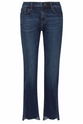 J BRAND Distressed mid-rise striaght-leg jeans