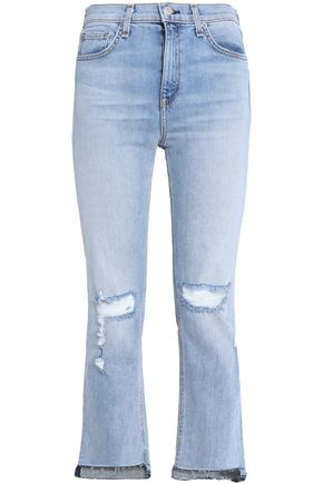 RAG & BONE/JEAN Cropped distressed high-rise slim-leg jeans