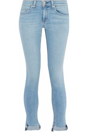 RAG & BONE/JEAN Cropped frayed mid-rise skinny jeans