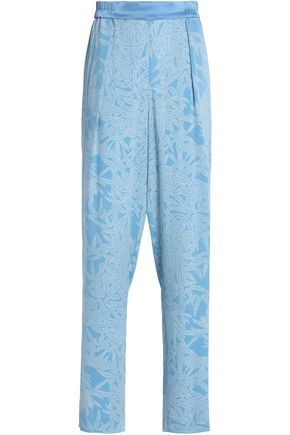 DIANE VON FURSTENBERG Pleated floral-print silk-blend crepe tapered pants