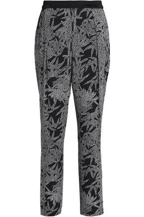 DIANE VON FURSTENBERG Printed silk-blend crepe tapered pants