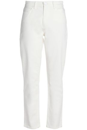 SANDRO Cropped high-rise straight-leg jeans